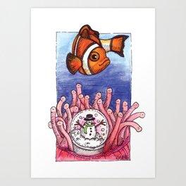 Christmas Clownfish Art Print