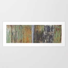 corrugated rusty metal fence paint texture Art Print