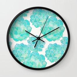 Rosette Succulents – Turquoise Palette Wall Clock