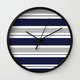 Navy Blue and Grey Stripe Wall Clock