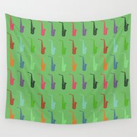 saxophone Wall Tapestries featuring Saxophone by Fabian Bross