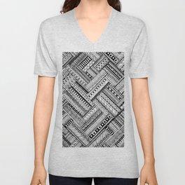 Tribal Ethnic Style  Black & White Unisex V-Neck