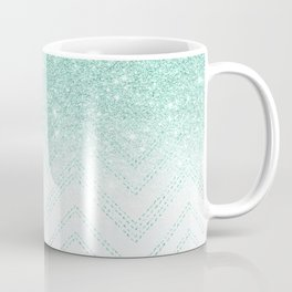 Faux teal glitter ombre modern chevron pattern Coffee Mug