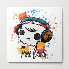 Skull headphones Pure Candy Metal Print