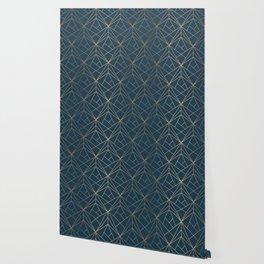 Benjamin Moore Hidden Sapphire Gold Geometric Pattern With White Shimmer Wallpaper