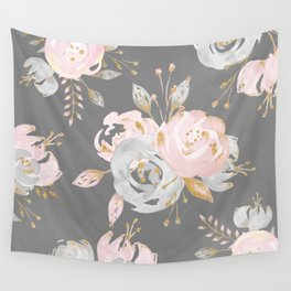 Night Rose Garden Gray Wall Tapestry