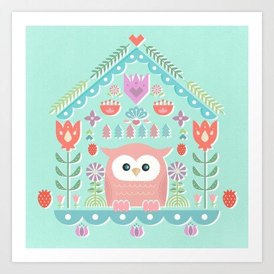 Scandinavian Folk Style Owl Bird House by sunnybunny