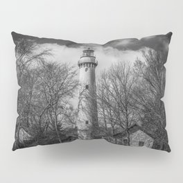 Grosse Point Poe Style Lighthouse Lake Michigan Evanston Illinois Black and White Pillow Sham