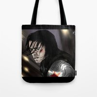 bucky barnes Tote Bags featuring I don't know you - Bucky Barnes by xKxDx