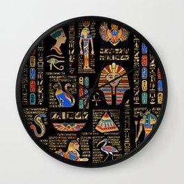 Egyptian hieroglyphs and deities on black Wall Clock