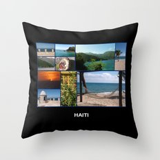 Colorful Photo Collage of Labadee, Haiti Throw Pillow