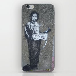Banksy Hitchhiker to Anywhere iPhone Skin