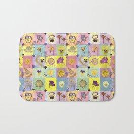 Pressed Flower Squares Bath Mat