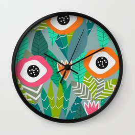 Abstract multicolored jungle Wall Clock