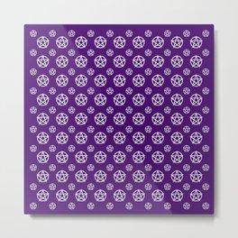 Dark Purple White Pentacle Pattern Metal Print