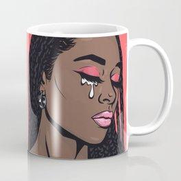 Coral Pink Crying Comic Girl Coffee Mug