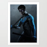 nightwing Art Prints featuring Nightwing by Yvan Quinet