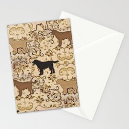 Labs of chocolate, blonde, and black Stationery Cards