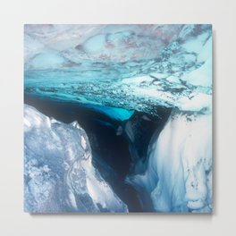 Treacherous Ice Cave Inside Canadian Glacier Metal Print