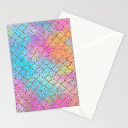 Pastel Mermaid Scales Gold Sparkle Glitter Stationery Cards