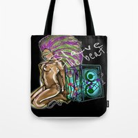 hip hop Tote Bags featuring Hip Hop Music beat by Just Bailey Designs .com