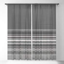 Modern Black White Stripes Sheer Curtain