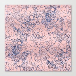 Stylish Metallic Navy Blue and Pink Floral Design Canvas Print