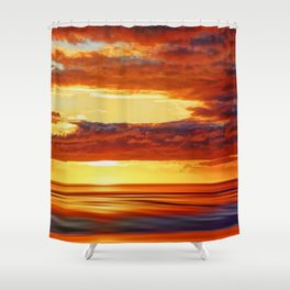 Irish Sea Sunset Shower Curtain