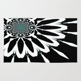 The Modern Flower Black White Blue Rug