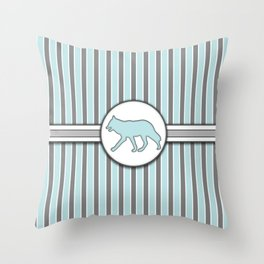 Wolf on Blue Stripes Pattern Design Throw Pillow