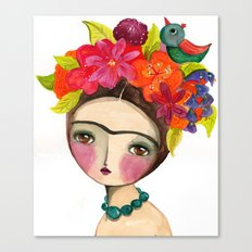 Frida And The Bird In Her Hair Canvas Print
