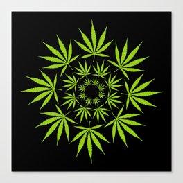 Cannabis Leaf Circle (Black) Canvas Print