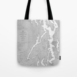 Puget Sound Washington State Nautical Chart Map Print 1956, Map Art Prints Tote Bag