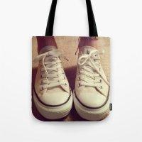 converse Tote Bags featuring Converse by M O L L Y J A N E