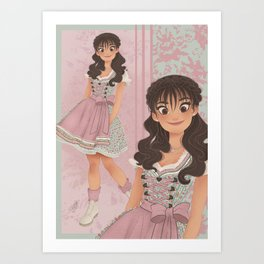 OKTOBERFEST Pink Dirndl Girl Art Print