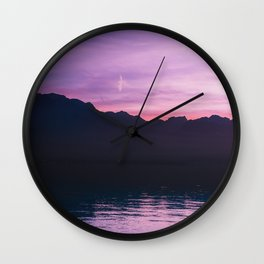Winter Sunset with Mountains - Landscape Photography Wall Clock