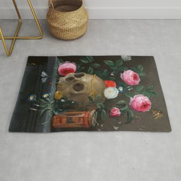 Skull with Crown and Flowers Still Life Rug
