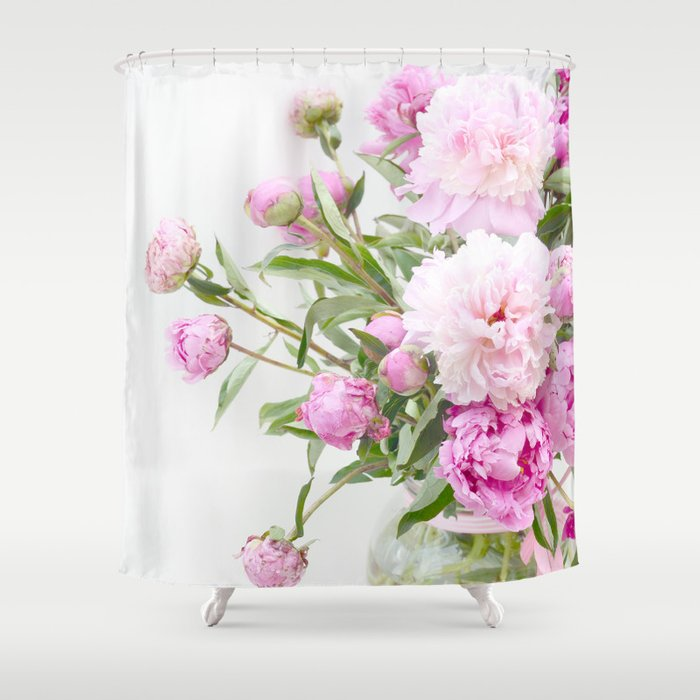Shabby Chic Romantic Cottage Pink Peonies In Jar Shower Curtain