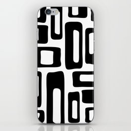 Retro Mid Century Modern Abstract Pattern 336 Black and White iPhone Skin