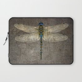 Dragonfly On Distressed Metallic Grey Background Laptop Sleeve
