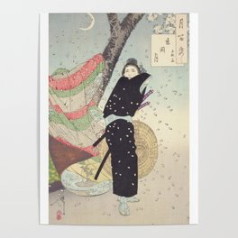 Cherry Blossoms and a person (sakura) Ukiyo-e Poster