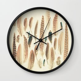 Found Feathers Wall Clock