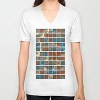 maps V-neck T-shirts featuring World Cities Maps by Map Map Maps