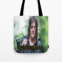 walking dead Tote Bags featuring Walking Dead by ezmaya