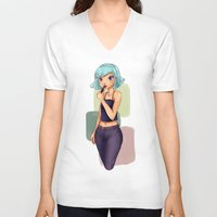 lipstick V-neck T-shirts featuring Lipstick by Jessica May