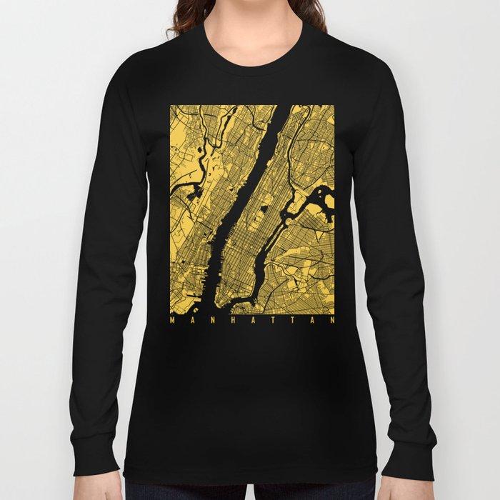 Manhattan map yellow Long Sleeve T-shirt
