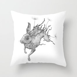 Hare Dandelion Throw Pillow