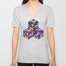 L333 // Rubik's Cube Isometric Illustration Unisex V-Neck