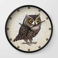 hocus pocus Wall Clocks featuring Otus pocus by Pepetto