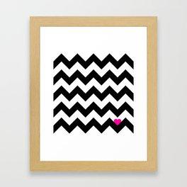 Heart & Chevron - Black/Pink Framed Art Print